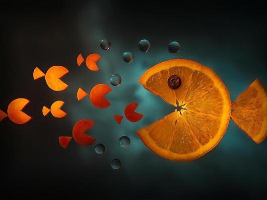 Poster Orange Pacman 40x50